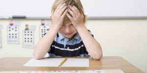 Boy frustrated by test