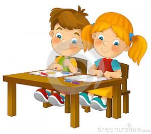 crianas-dos-desenhos-animados-que-sentam-aprendendo-ilustrao-para-as-crianas-xxl-35899015